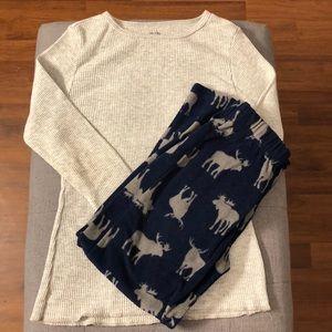 💗💗Boys fleece bottom pajama set with thermal top